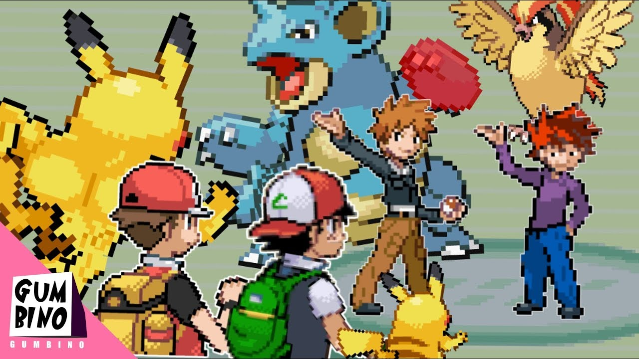 Red And Ash Vs Gary And Blue Pokemon Battle Youtube