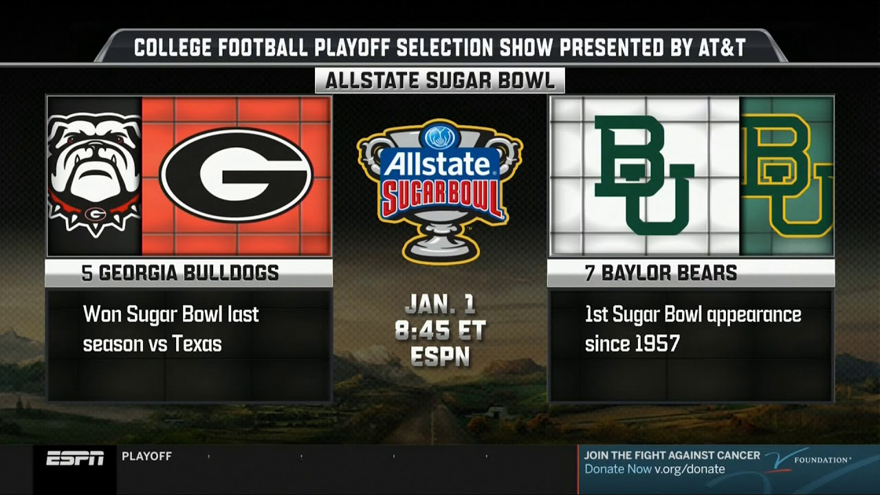 2020 Bowl Games Schedule.7 Baylor Vs 5 Georgia Sugar Bowl Jan 1 2020