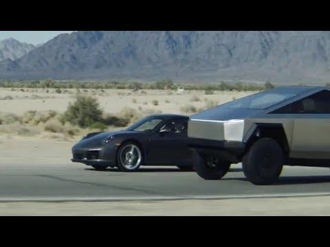 Tesla Cybertruck vs Porsche 911 - DRAG RACE | A Scene from Tesla\'s Event