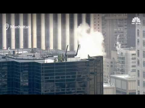 BREAKING News :  fire at the top of Trump Tower in New York City