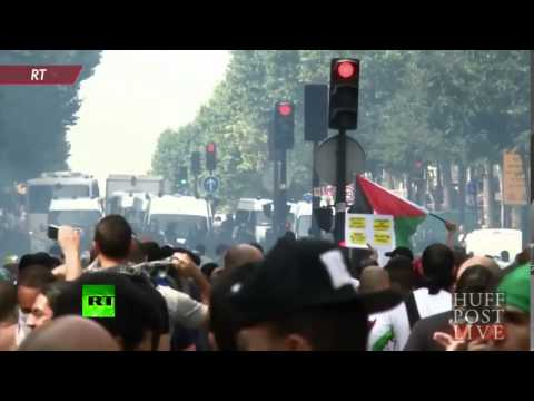 Pro-Palestinian Protesters And French Police Clash Amid Gaza Conflict