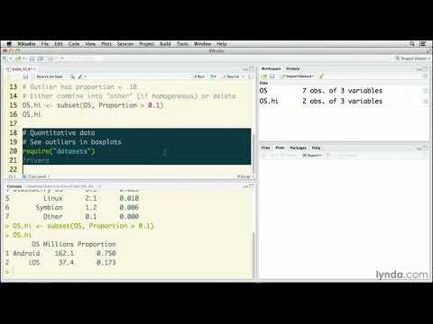 R Statistics tutorial: Examining outliers | lynda.com