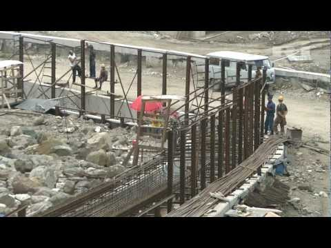Views of Olympic bobsleigh track under construction in Sochi