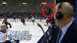 Pierre McGuire narrowly misses a hockey puck to the face | NHL | NBC Sports