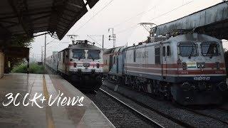 A BRUTAL OVERTAKE BY MUMBAI RAJDHANI | WAP-7 OVERTAKE WAP-5 at Kelve Road | Indian Railways
