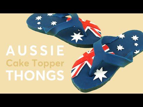 Australian Flag FONDANT FLIP FLOPS Aka THONGS – Australia Day Cake Topper Tutorial