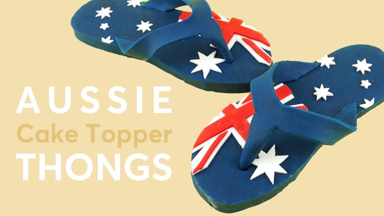 54d9dd68462 Australian Flag FONDANT FLIP FLOPS aka THONGS – Australia Day Cake ...