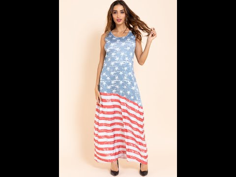 Plus Size Stylish Casual American Flag Printed Round-neck Sleeveless Stretch Dress  A21741