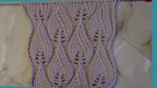 Ажурный узор Листочки Вязание спицами Видеоурок 45