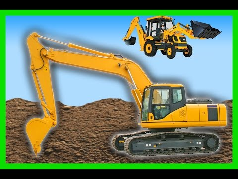 Backhoe for Children | 1 Hour Machines for Kids Compilation