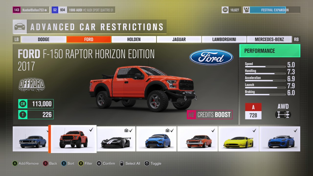 Forza Horizon 3 All 33 Horizon Edition Cars Full