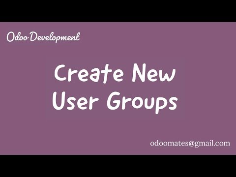 How To Create New User Groups In Odoo