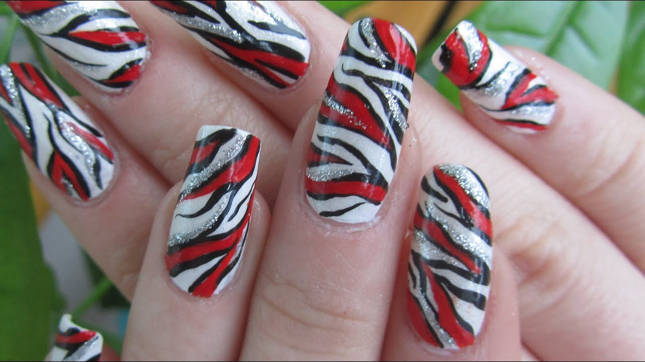 Zebra Print Bright Red and Silver Glitter Design Nail Art Tutorial ...