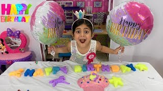 Sally Play Happy Birthday Party with Color Letters