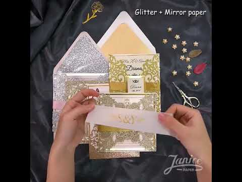 DIY Gorgeous Lace Glitter Paper Laser Cut Wedding Invites WPL0002G