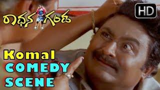 Komal Comedy Scenes | Komal gets hit by lady police Comedy Scenes | Radhana Ganda Kannada Movie