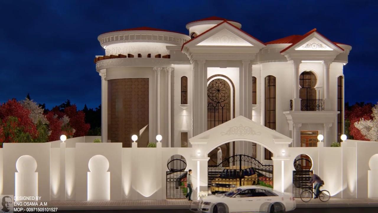 فيلا دورين على الطراز الكلاسيكي اكساء حجر Classic Villa Youtube Building Plans House Modern Villa Design House Styles