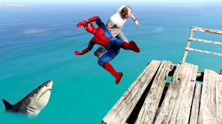 GTA 5 Crazy Spiderman Water Falls & Ragdoll Jumps - Ep.7 [Funny Moments Euphoria Physics]