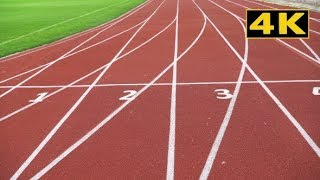 Athletics Stadium With a Red Running Sport Track | Stock Footage - Videohive