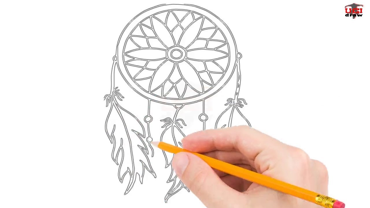 How To Draw A Simple Dream Catcher How to Draw a Dreamcatcher Step by Step Easy for BeginnersKids 17