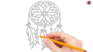 How to Draw a Dreamcatcher Step by Step Easy for Beginners/Kids –Dreamcatchers Drawing Tutorial