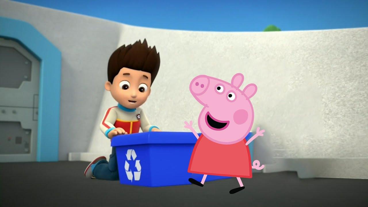 Peppa Pig|PAW Patrol|狗狗巡邏隊|粉紅豬小妹|小猪佩奇和汪汪队立大功莱德整理垃圾箱