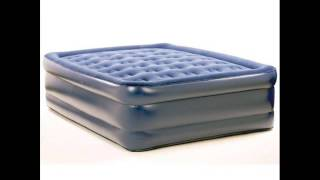 Queen Raised Deluxe Flock Top Air Bed ; Queen Raised Bed, Camping Air Mattress