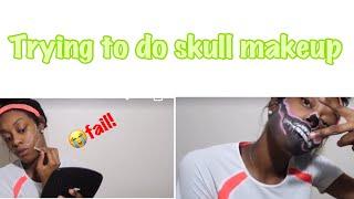 Trying to do easy skull makeup #halloweenmakeup