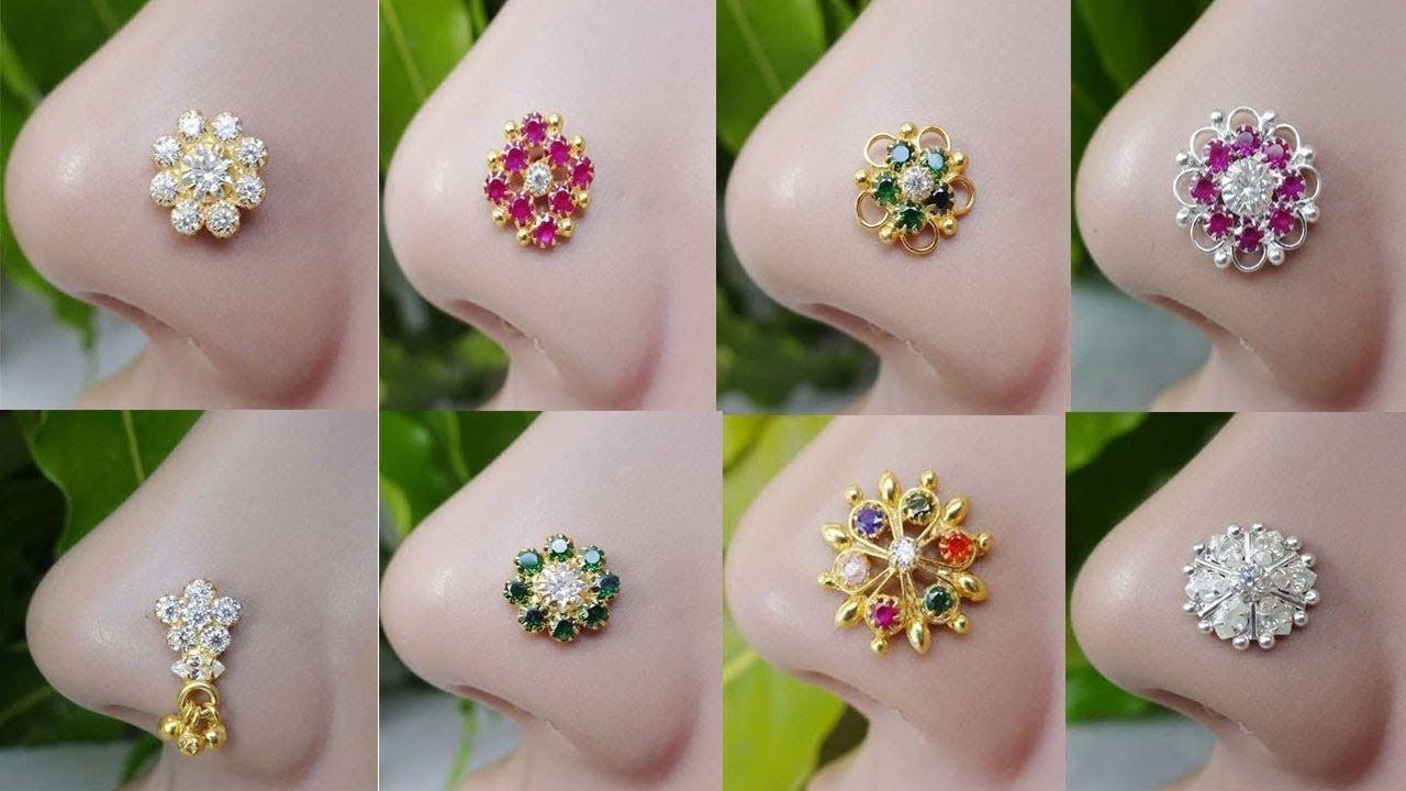 Beautiful Stylish 22k Gold And Diamond Nose Pins Designs Latest