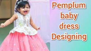 Kids Peplum Dress Cutting And Stitching in Telugu// peplum dress designing