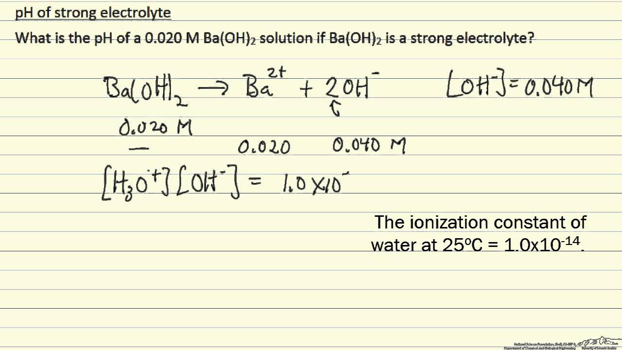 Ph Of A Strong Electrolyte Example Youtube