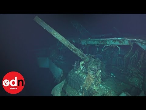 Eerie footage of sunken WW2 aircraft carrier captured by submersible