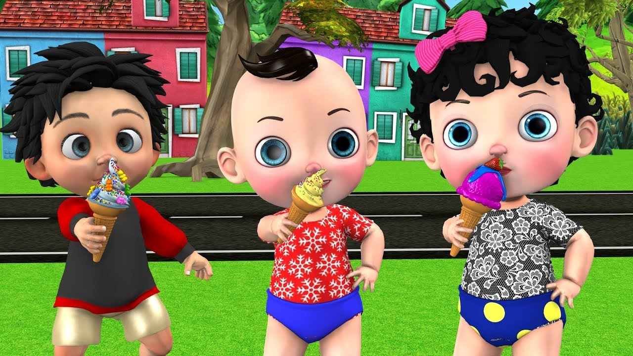 Funny Babies Eats Ice Cream From Ice Cream Truck at Outdoor Playground For Kids Nursery Rhymes