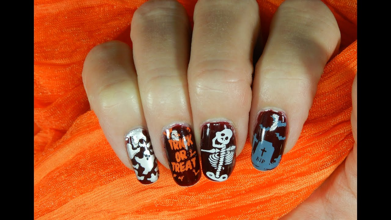 Stamped Nail Design MoYou London Easy Fun Halloween Design - YouTube