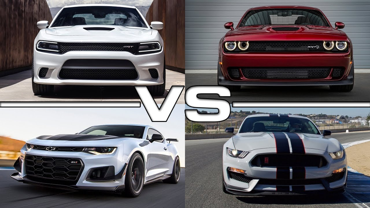 challenger srt hellcat vs charger srt hellcat vs mustang shelby gt350r vs camaro zl1 youtube. Black Bedroom Furniture Sets. Home Design Ideas