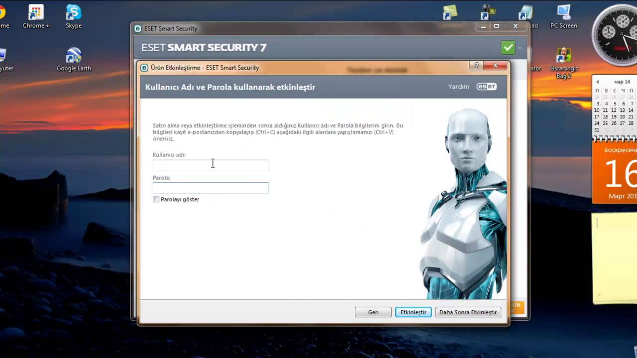 eset smart security user name and password