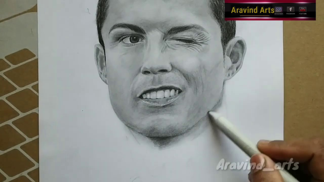 Cristiano ronaldo pencil sketch aravind arts