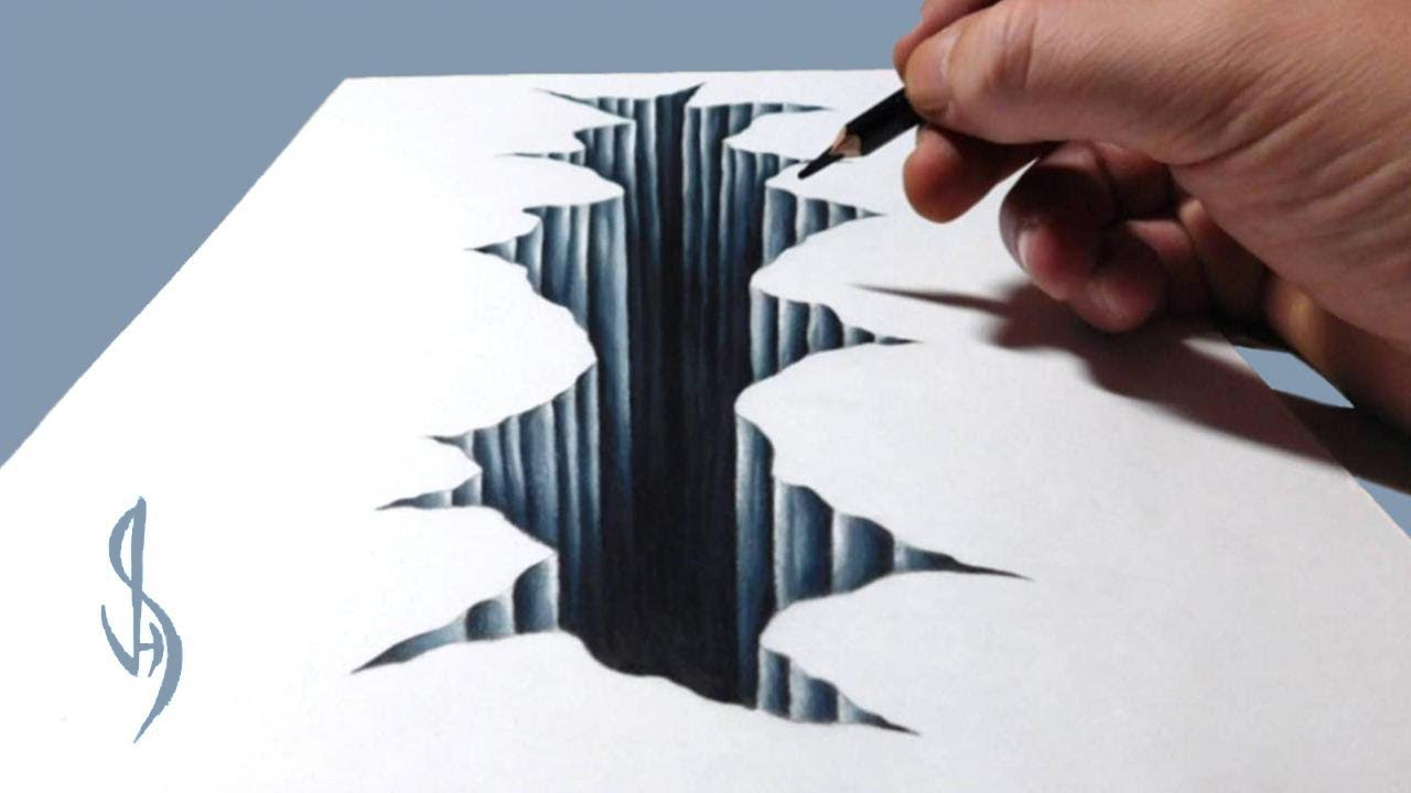 Drawing 3d Cracked Hole Trick Art Optical Illusion