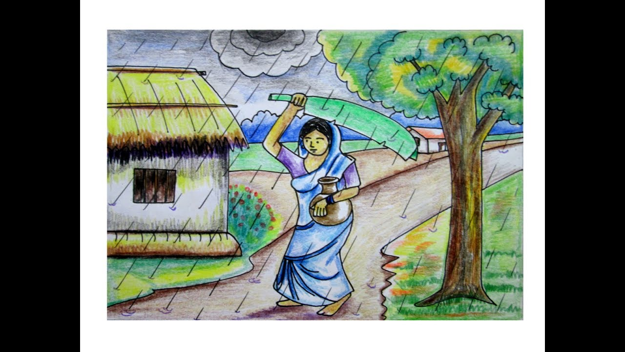 village scenery drawing in rainy day with cloudy sky - YouTube