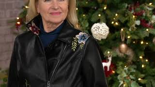 Dennis Basso Madison Avenue Faux Leather Embroidered Moto Jacket on QVC