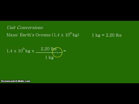 Unit Conversion: Converting kilograms (kg)  to pounds (lbs) for the mass of the Earth