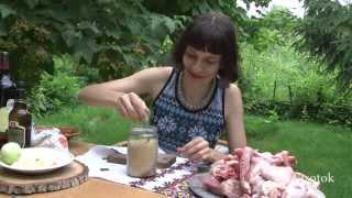 Шашлык из курицы и свинины в пиве