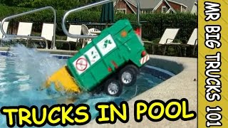TOY GARBAGE TRUCKS DIVE IN POOL FOR FUN: MrBigTrucks101