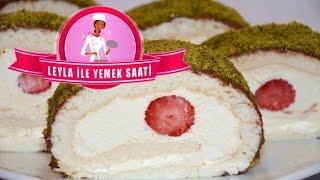 Beyaz Pandispanyalı - Çilekli Rulo Pasta Tarifi - Weisse Biskuit Rolle mit Erdbeeren