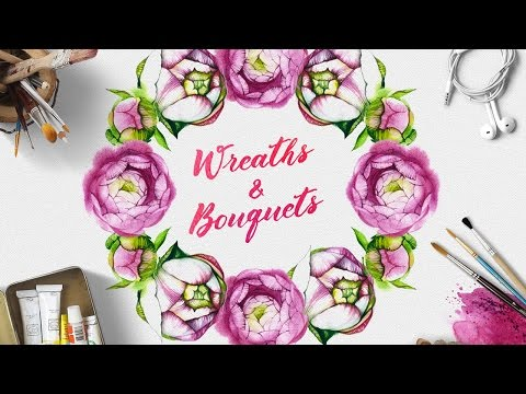Create Vector Invitation, Greetings or Stationery Card using Watercolor Flowers Kit