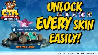 Crash Team Racing Nitro Fueled - How To EASILY Unlock All Character Skins!