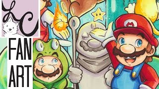 Super Mario Power-Ups Nintendo Fan Art (Copic Marker Coloring)