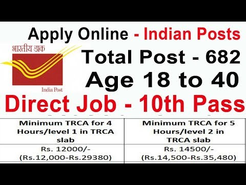 GDS 10th Pass Latest Indian Post Office Job 2019 Apply Online All India 682 Posts  Circle