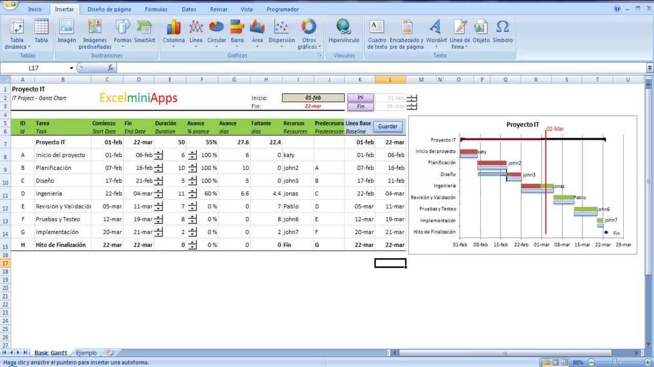 Cronograma en Excel con Línea Base - YouTube