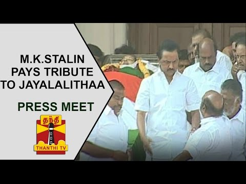 Opposition Leader M.K.Stalin Pays Tribute To Jayalalithaa | Press Meet | Thanthi TV